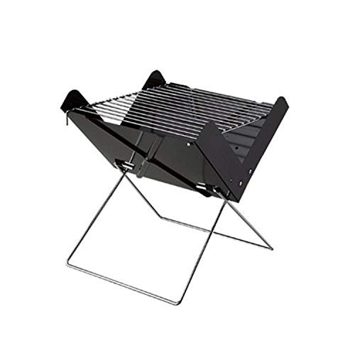 Effeltch Flatpack Portable Stainless Steel Grill and Fire Pit – Barbecue Charcoal Grill Folding Portable Lightweight BBQ Tools for Outdoor Cooking Camping Hiking Picnics