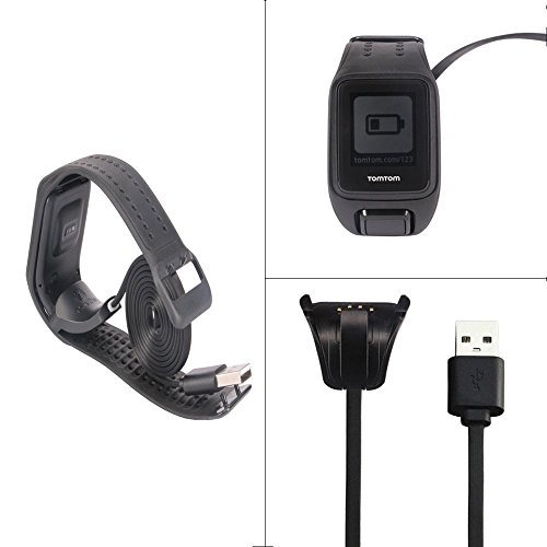 TomTom Spark Cardio Charger Cable , Replace USB Charging Cable Clip Charger Cradle Charging Dock for TomTom Spark Cardio / TomTom Spark Cardio + Music / Spark 3 Cardio GPS Fitness Watch by Esimen