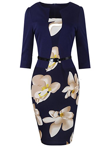 Oxiuly Women's Patchwork Stretch Foral Print Optical Illusion Formal Dress OX166 (XL, Dark Blue + White Flower 3/4 Sleeve) (Colorblock 2 Piece Dress)
