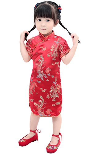 AvaCostume Girls Traditional Chinese Qipao Cheongsam Dress, 2T-3T, Reddragon]()