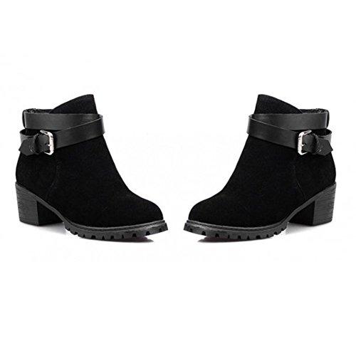 Talon Bottes Boots Ville Bottine Classiques Bloc Frestepvie Chaussure Confort Haut Femme Courtes Black fqxZTxw14