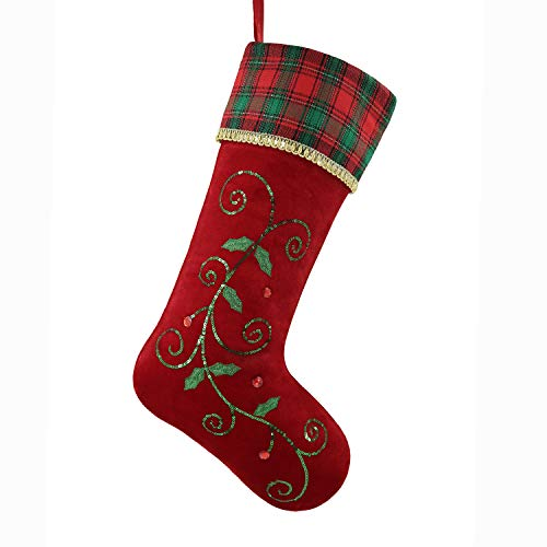 Valery Madelyn 21 Traditional Holly Leaves Christmas Stocking with Red and Green Tartan Cuff,Themed with Tree Skirt(Not Included)