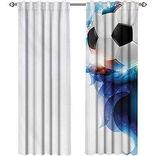 shenglv Soccer, Sound Curtains Noise Reducing, Soccer Ball Surrounded by Art Graphic Vivid Petals Football Game Theme, Curtains for Girls Bedroom, W96 x L108 Inch, Dark Blue White Black