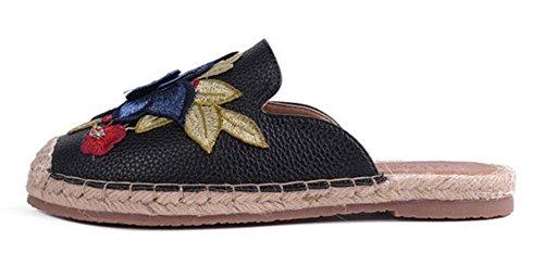 Aisun Women's Stylish Print Flower Cap Toe Loafers Black q7zYI