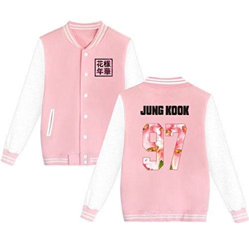 BTS Baseball Jacket Uniform Bangtan Boys Suga Jin Jimin Jung Kook Sweater Coat L Pink JUNG KOOK