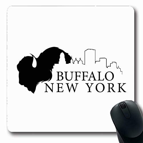 Ahawoso Mousepads for Computers Blue Graphic Buffalo New York Skyline City Black Hall Design White Oblong Shape 7.9 x 9.5 Inches Non-Slip Oblong Gaming Mouse Pad