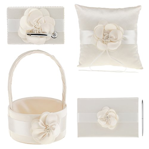 MonkeyJack 4Pcs Sash Wedding Ceremony Sets Guest Book Pen Holder Flower Basket Ring Pillow Champagne