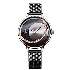 Ladies Analog Quartz Watch Shining Rhinestone Dial Watch for Women and Girls (Black)