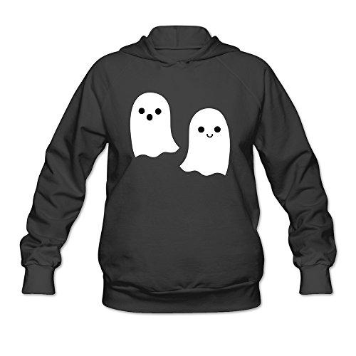 Womens Lovely Halloween Ghost Hoodies Black 100% Cotton -