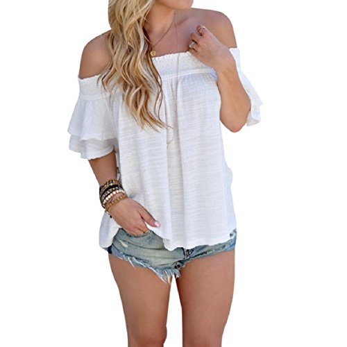 VESNIBA Women Off Shoulder Stripe Casual Blouse Shirt Tops (S, White)