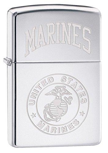 Zippo Lighter: USMC Marines Logo Engraved - High Polish Chrome - Zippo Marine Corps