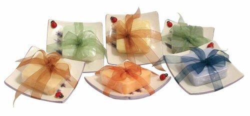 Geschenkset: 100g Arganölseife 'Olive-Zitrone' mit hübscher Keramikschale
