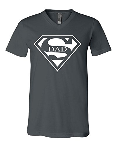 Super Dad V-Neck T-Shirt Funny Superhero Father's Day Tee Charcoal M for $<!--$13.99-->