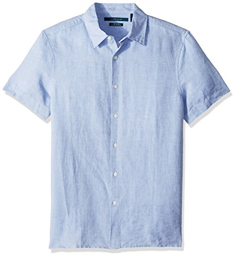 Perry Ellis Men's Short Sleeve Solid Linen Cotton Button-Up Shirt, Colony Blue, Extra Large