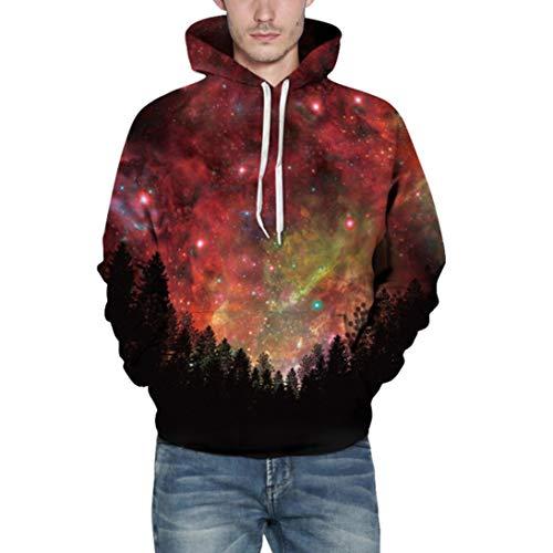(Realdo Mens Sweatshirt, Fashion Casual Autumn Winter 3D Print Comfy Caps Skin Hoodie Tops Blouse(XX-Large/3X-Large,Red Stars))