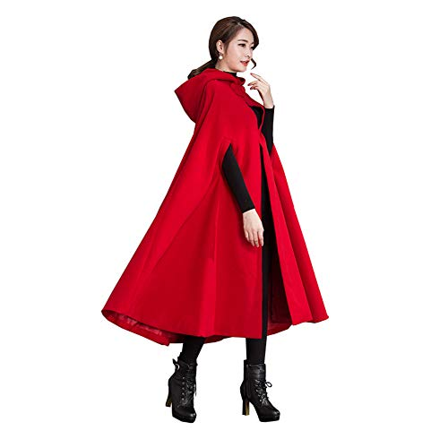 Yimidear Winter Coat for Women Warm Red Cloak with Hood Wool Blend Poncho Cape Jacket