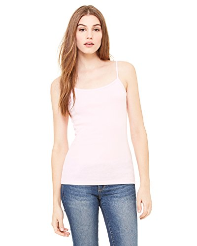 Bella + Canvas Ladies Stretch Rib Spaghetti Strap Tank, XL, PINK