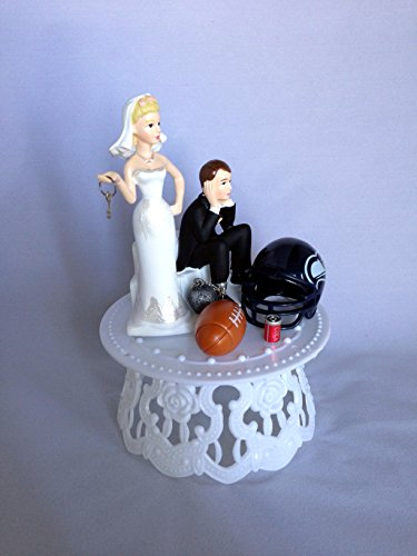 Funny Wedding Cake Toppers Bride and Groom - Personalized Seattle SeahawksFootball Themed Topper for Weddings