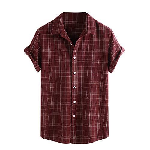 OrchidAmor 2019 Men Vintage Splicing Linen Hawaii Miami Beach Happy Vacation Solid Short Sleeve Retro T Shirts Tops Blouse Red ()