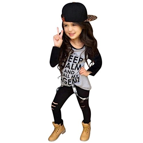 DaySeventh Toddler Girls Outfit Clothes Print T-shirt Tops+Long Pants Trousers 1Set (Size:4T Label Size:100, Black) from DaySeventh