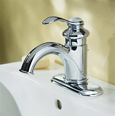 KOHLER Fairfax K-12181-CP Single Handle 4 in. Centerset Bathroom Faucet with Metal Drain Assembly in Polished Chrome