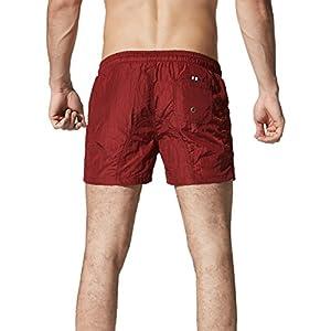 Neleus Men's Running Sports Shorts Swim Trunks,602,Burgundy & Red,M,Tag XL