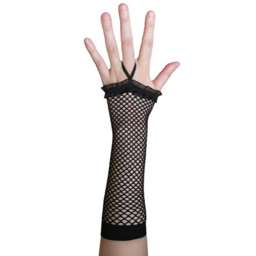 Black Fingerless Fishnet Gloves with Ruffle ~ Costume Party Accessory - Costumes Diva Halloween