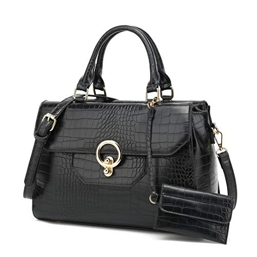 Women's Purses and Handbags Designer Pu Leather Shoulder bag Tote Bag Purse Set Fashion Embossed Top Handle Bags (Black)