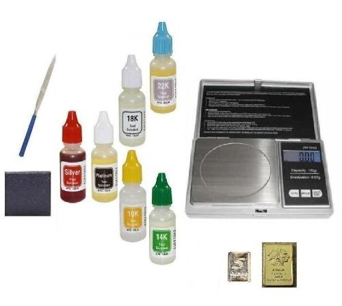 Precious Metals Testing Kit with Digital Scale-Silver, Platinum, 10k 14k 18k 22k Gold Tests Plus Stone