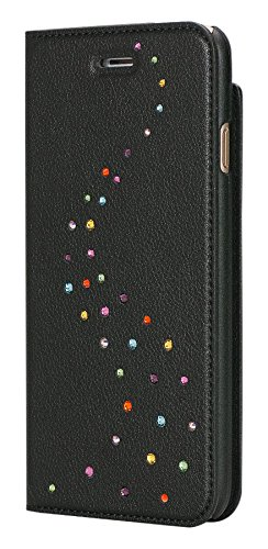 Bling-My-Thing iP7-pri-mw-ccd Milky Way Wallet Serie Luxuriöses und einzigartiges Design veredelt mit original Swarovski Kristallen, modisches Leder-Case für Apple iPhone 7 Cotton Candy