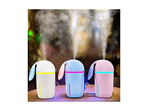 Yunqir Compatible Portable Rabbit Vehicle Humidifier LED Humidifier, Mini USB Air Humidifier Decor Oil Diffuser Office/Home/Spa(Pink) by Yunqir (Image #2)