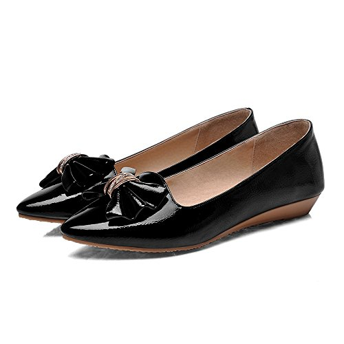 Cute Bows Loafers Show Shine Pumps Womens On Shoes Slip Black xwTHTq7