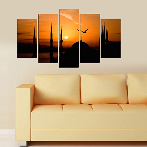 LaModaHome Decorative 100% MDF Wall Art 5 Panels (43'' x 24'' Total) Ready to Hang Painting Istanbul Mosque Muslim Sunset Orange Bird Shadow by LaModaHome