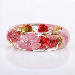 Lucite Handmade Real Flower Botanical Garden Jewelry resin bangle bracelet. {45} Size 64mm,height 23mm.