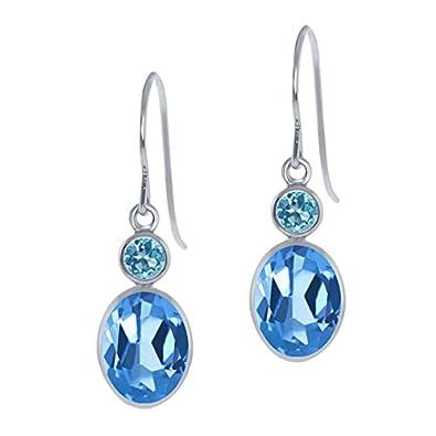 3.30 Ct Oval American Blue Mystic Topaz Swiss Blue Topaz 14K White Gold Earrings