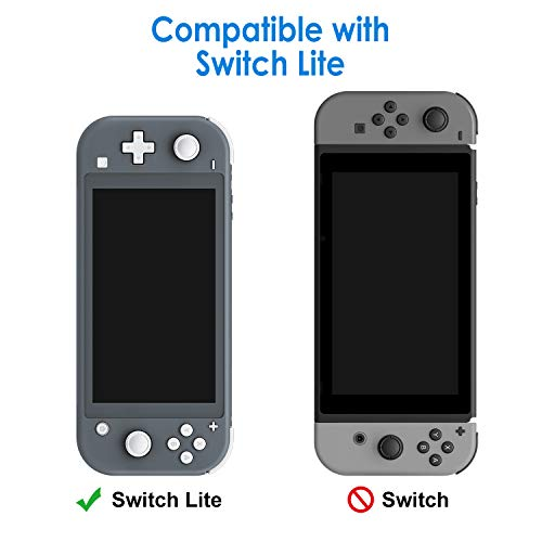 JETech Protective Case for Nintendo Switch Lite 2019, Grip Cover with Shock-Absorption and Anti-Scratch Design, Grey