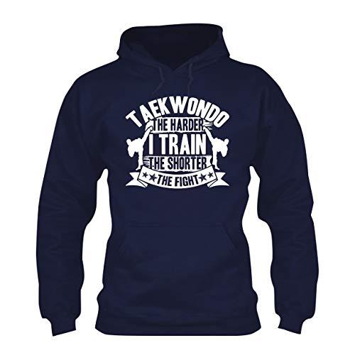 Addblack Taekwondo Train Harder Long Sleeve Hoodie, Hooded Sweatshirt Navy,M ()