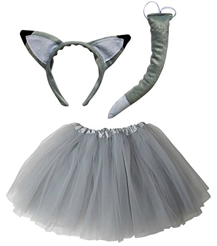 So Sydney Kids Teen Adult Plus Tutu Skirt, Ears, Tail Headband Costume Halloween Outfit (M (Kid Size), Wolf or Fox Gray & White)]()