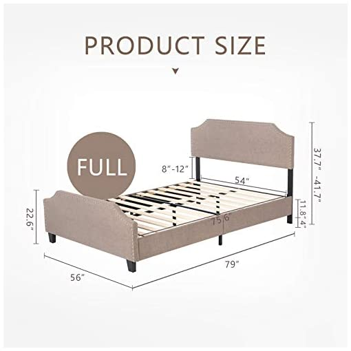 Bedroom mecor Upholstered Linen Full Bed Frame, Platform Bed with Curved Shape Headboard and Footboard, Metal Frame with Wood… modern beds and bed frames