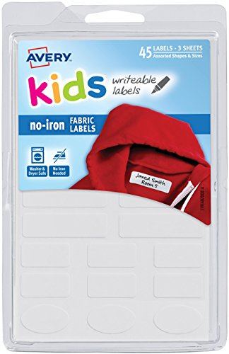 Avery No-Iron Kids Clothing Labels,Washer & Dryer Safe, Writable Fabric Labels, 45 Daycare Labels  (40700), White