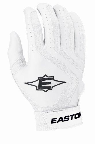 (Easton Typhoon II Youth Batting Gloves, White, Large)