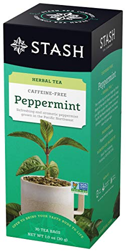 30 Tea Flavor - Stash Tea Peppermint Herbal Tea 30 Count Tea Bags in Foil (Pack of 6), Tea Bags Individually Wrapped in Foil, Premium Black Tea Blended with Invigorating, Warming Spices, Drink Hot or Iced