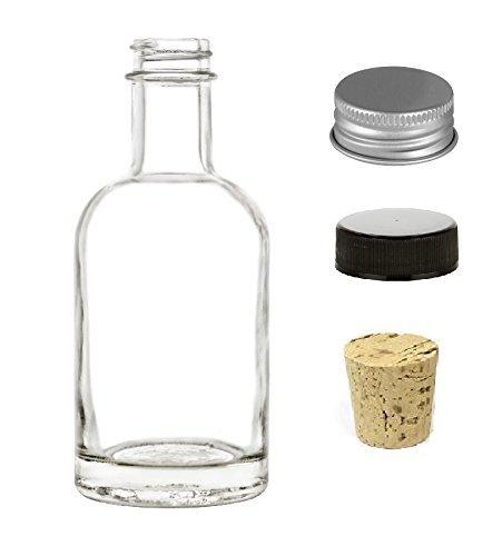 Nakpunar 1 pcs 6.75 oz Heavy Base Nordic Glass Liquor Bottle with Black Plastic Cap, Aluminum Lid and Bonus Natural Cork Bottle Stopper (1, 6.75 oz (200 ml))