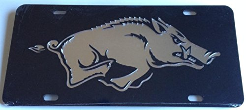 Arkansas Razorbacks Black Silver Mirrored Car Tag -