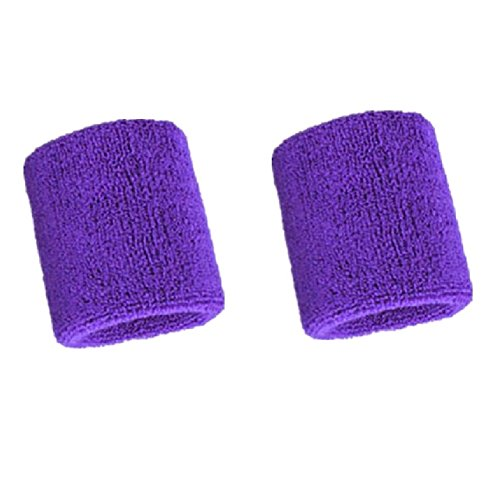 Mcolics 3' Inch Wrist Sweatband in 11 Different Colors - Athletic Cotton Armbands (1 Pair) (Purple)