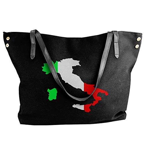 Casual Canvas Shoulder Bag Italian Green White Red Flag Map Cute Print Large Capacity Bag