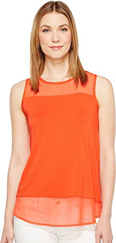 Chiffon Yoke Top (Vince Camuto Womens Sleeveless Top w/Poly Chiffon Yoke and Hem Red Hot XL One Size)