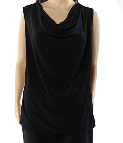 Ellen Tracy Womens Large Solid Drape-Neck Blouse Black L