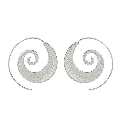 Bracet Spiral Hoop Earrings Stud Bohemian Vintage Tribal Swirl Style Adjustable Earrings Jewelry (4200(Silver))