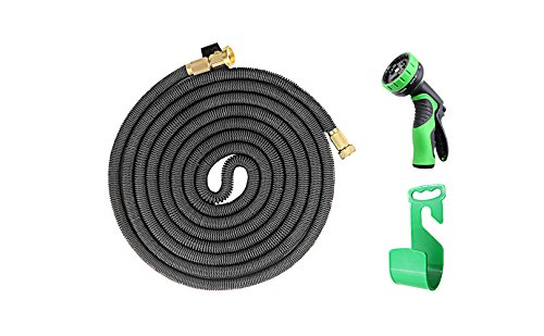 iZEEKER New Design in 2017,Three Times Expandable 50 Feet Magic Hose,Washing Car Hose,Strongest Expandable Garden Hose,Solid Brass Ends, Double Latex Core, Extra Strength Fabric (Black)